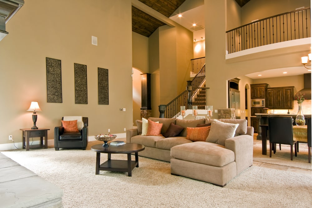 warm tones living room with chunky sofa