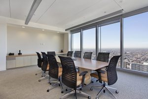 Office conference room with carpet tile